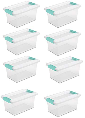 Sterilite New Medium Clip Box Clear Storage Tote Container with Lid (8 Pack)