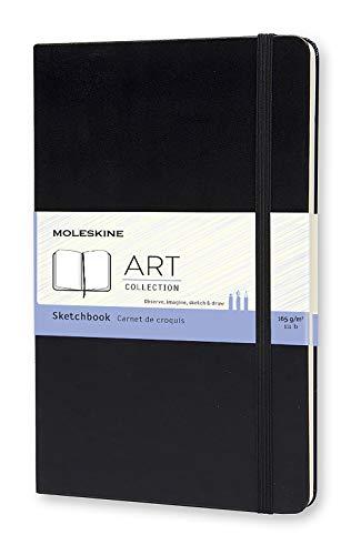 Moleskine Art Sketchbook, Hard Cover, Large (5' x 8.25') Plain/Blank, Black, 104 Pages