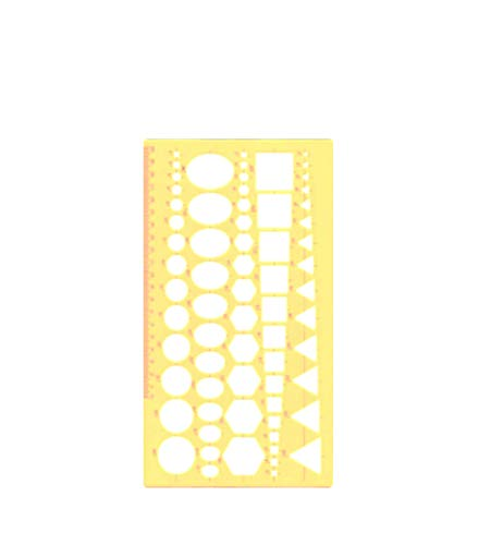 Template 5 Patterns Ruler Stencil Assorted - Circle, Ellipse, Hexagon, Square, Triangle