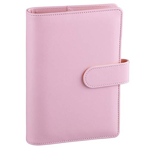Antner A6 PU Leather Notebook Binder Refillable 6 Ring Binder for A6 Filler Paper, Loose Leaf Personal Planner Binder Cover with Magnetic Buckle, Pink