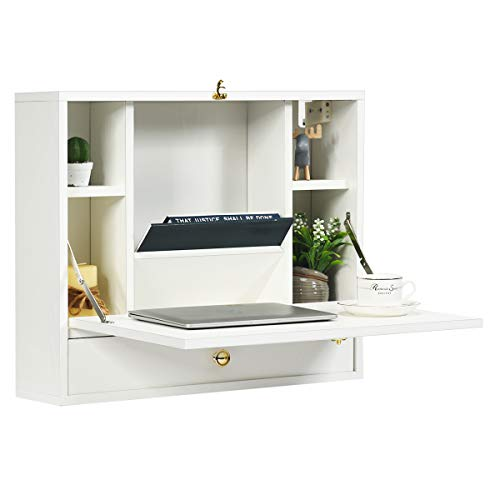 TANGKULA Wall Mounted Desk, Multi-Function Floating Desk Wall Mount Laptop Desk, Space Saving Wall Mounted Table Wall Desk with Storage Drawer and Shelves (White)