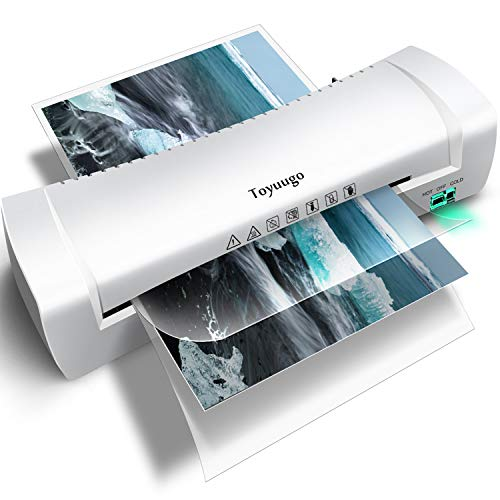 Toyuugo Laminator Machine, Portable A4 Thermal Laminating Machine with Hot and Cold Settings, Anti-JAM ABS Button Fast Warm-up and No Bubbles for Home Office School (Including 15 Pouches)