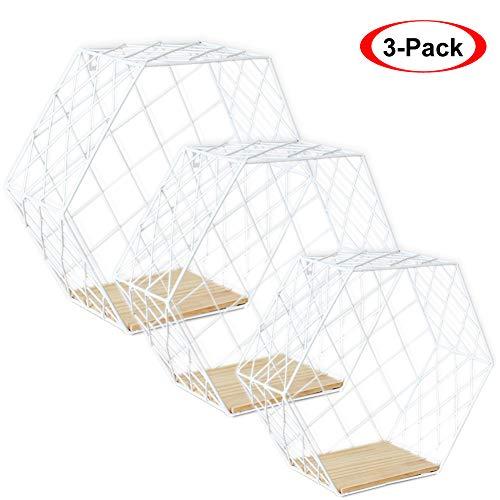 Growsun Floating Shelves Metal Wall Mounted Storage Display Shelf with Wooden Bracket, White 3 Pack
