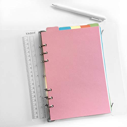 Refiller for 8.5 inch A5 6-Holes Cover Round Ring View Binder File Folder (A5 Divider Vertical Colored Paper, 1 Package)