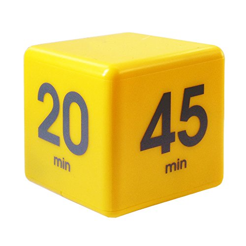Datexx The Miracle TimeCube Timer, 5, 10, 20 and 45 Minutes, for Time Management, Kitchen Timer, Kids Timer, Workout Timer, Yellow