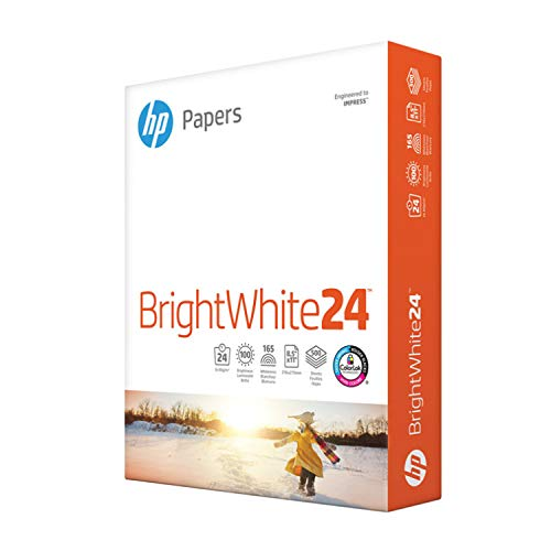 HP Papers Printer Paper 8.5x11 BrightWhite 24 Lb 1 Ream 500 Sheets, 100 Bright Made in USA FSC Certified Copy Paper Compatible 203000R
