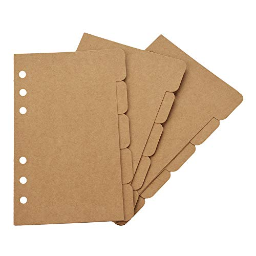 Bluecell 3 Sets Kraft Paper Divider Index Page Tab Cards for 6-Holes Ring Binders Notebooks Travel Diary Journal Planner (A6)