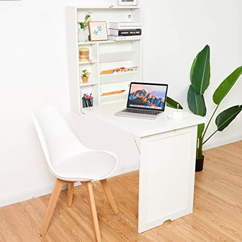 TANGKULA Wall Mounted Table, Fold Out Multi-Function Computer Desk, Convertible Floating Desk, Home Office Wood Wall Desk with Storage Area (White)
