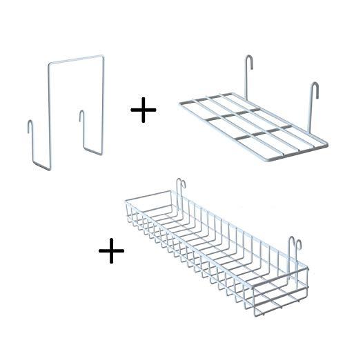 FRIADE Wall Grid Panel Hanging Basket With Hooks,Bookshelf,Display Shelf,Wall Organizer and Storage Shelf for Home Supplies,1 Set of 3 (Black)