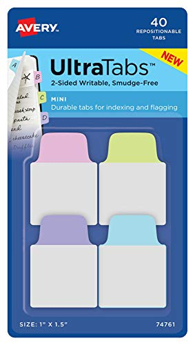Avery Mini Ultra Tabs, 1' x 1.5', 2-Side Writable, Pastel Purple/Blue/Pink, 40 Repositionable Tabs (74761)