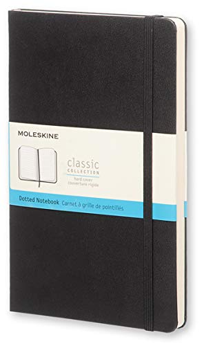 Moleskine Classic Notebook, Hard Cover, Large (5' x 8.25') Dotted, Black, 240 Pages