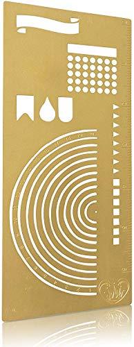 Stainless Steel Metal Stencil I Ruler Semi Circle Habit Tracker Template I Great for Journal Calendar Notebook Agenda I Scrapbook Album Craft Supplies for Adults Kids Stencil (Gold)