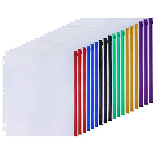 Antner 18pcs Binder Pockets Letter Size 3 Holes Binder Pouch Folders for 3-Ring Binder Loose Leaf Bags Waterproof PVC Document Filing Bags, 6 Colour