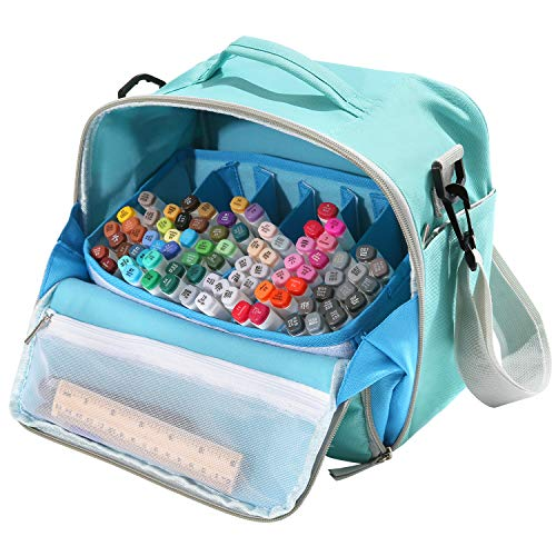 Togood Storage Tote Bag for Marker Pens Brush Pen Coloring Pencils Books Art and Crafts Supplies Tools Cosmetics, Up to 130 Pens,Light Green