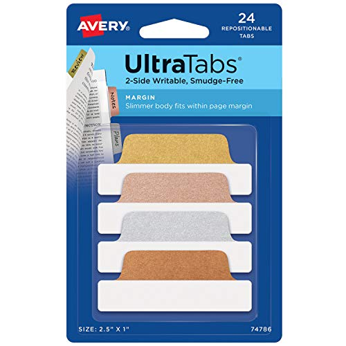 Avery Margin Ultra Tabs, 2.5' x 1', 2-Side Writable, Assorted Metallic, 24 Repositionable Page Tabs (74786) - Gold, Silver, Rose Gold, Copper