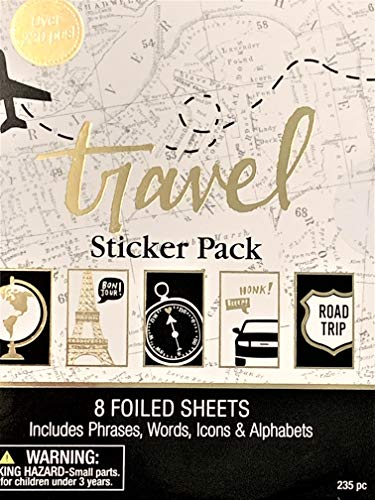 Elegant Blooms & Things Travel Sticker Book, 235 pcs, Black, Gold Foil, White, Journals, Albums, Planners