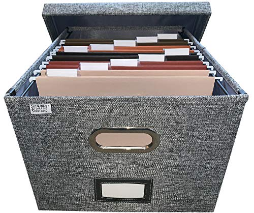 File Box Storage Organizer with file folders - Letter sized brackets for Office File Storage Box - Metal brackets for Easier Document Storage