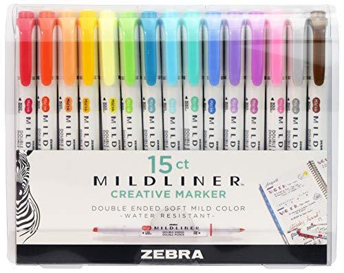 Zebra Pen Mildliner, Double Ended Highlighter, breite und feine Spitzen, verschiedene Farben, 15er Pack