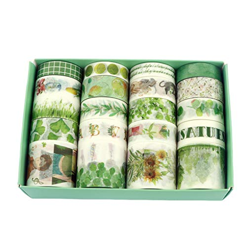 Fresh Green Washi Tape 20 Rolls, Grass Leaf Flower Tree Fruit Kawaii Cake Animal Washi Masking Tape Set for Scrapbooking, Bullet Journal, Planner, Gift Wrapping, Holiday Decoration