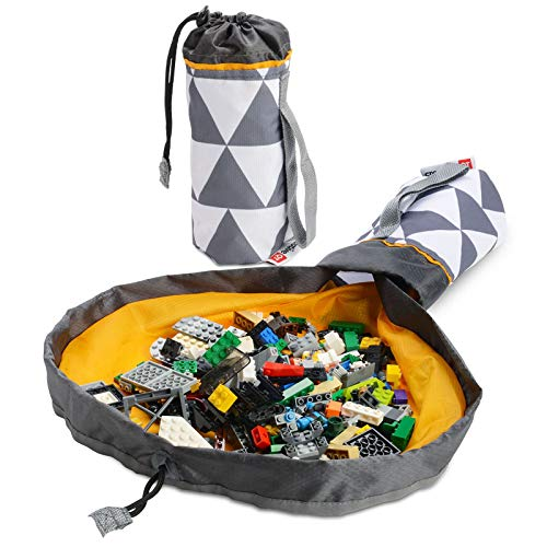 Creative QT Mini SlideAway Toy Storage Bag and Play Mat – Available in Multiple Patterns – Grey Triangle Toy Bag