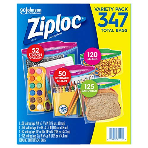 Ziploc Variety Pack of 347 Bags - Four Sizes - Storage Gallon, Storage Quart, Snack and Sandwich