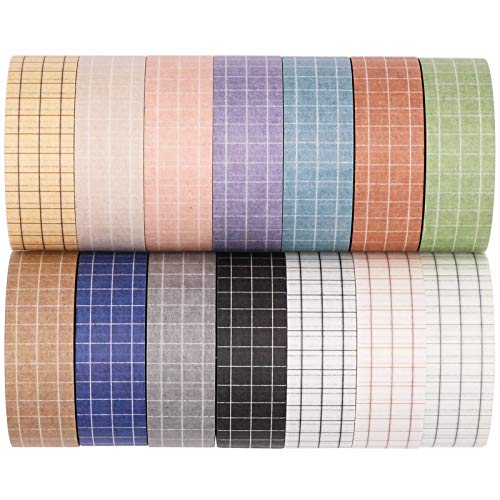 Knaid Grid Washi Tape Set, 14 Rolls of 15 mm Wide Decorative Colored Masking Tapes for Scrapbooking, DIY Decor and Crafts, Bullet Journals, Planners, Junk Journal, Gift Wrapping