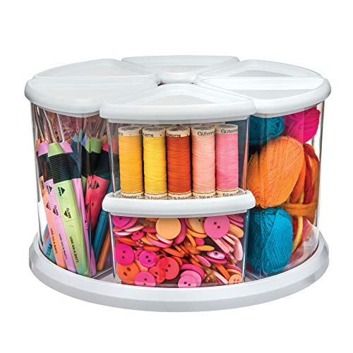 Deflecto Rotating Carousel Craft Organizer, 9-Canister, Includes 3' and 6' Canisters, Removable, Clear, Lids