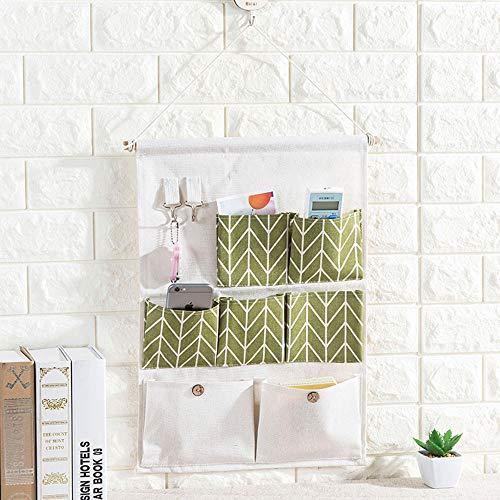 Axgo 1 Packs Over The Door Magazine Storage, 7-Pocket Wall Hanging Organizer Closet with 2 Hooks, Green