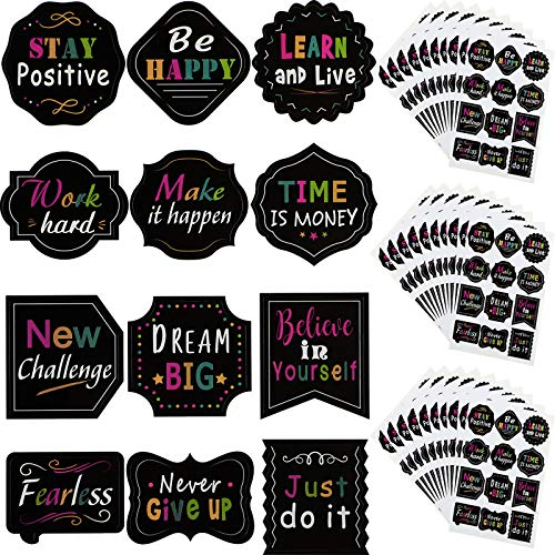 240 Pieces Inspiring Planner Stickers Inspirational Quote Stickers Motivational Encouragement Stickers for Laptop Book Phone Car Luggage Bike (Black)