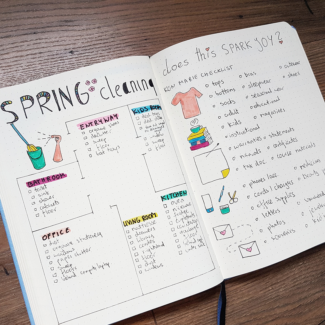 bullet journal spring cleaning spreads