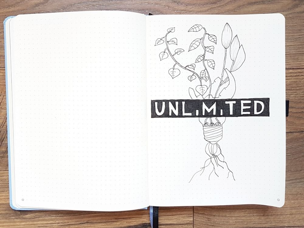 unlimited quote lighbulb drawing leaves