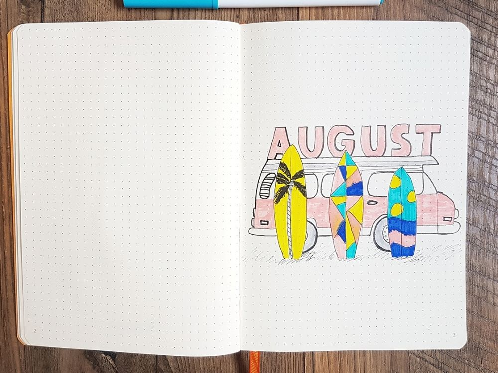 beach theme august cover page