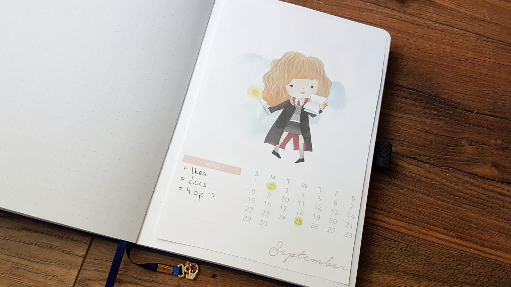 Hermiona calendar free printable