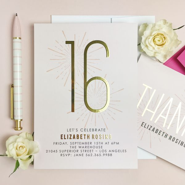 elegant simple birthday invitation