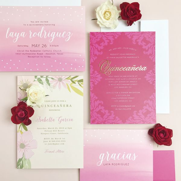 pink flower custom invitation