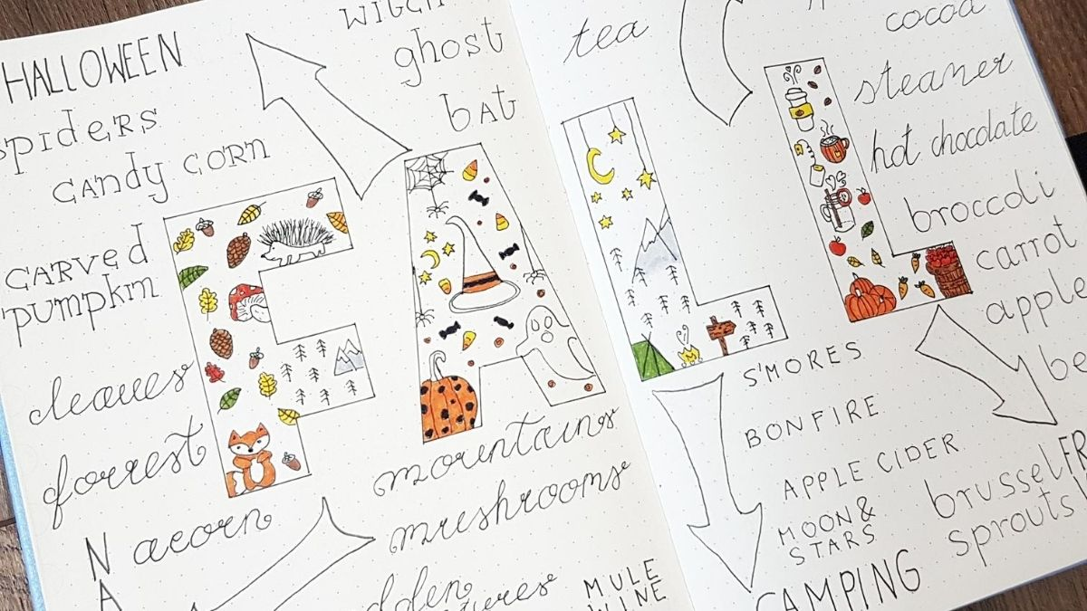 bullet journal doodles autumn