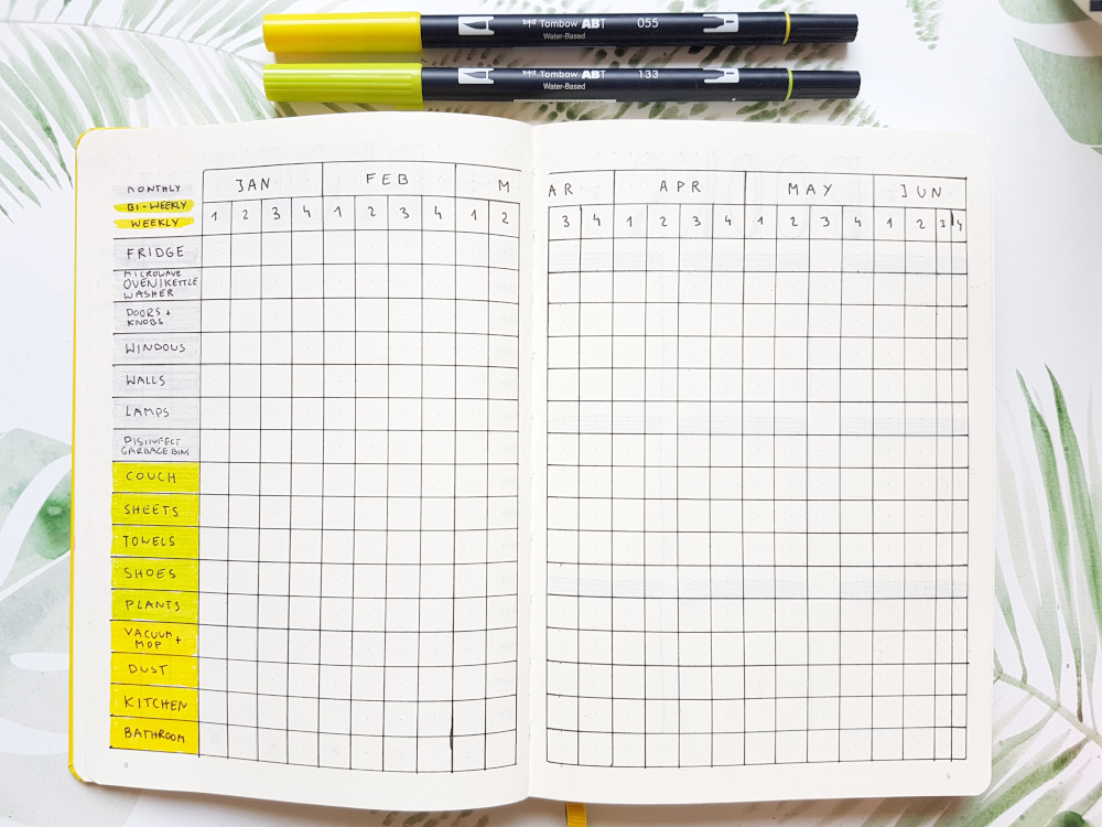 Cleaning Schedulet Chores Bujo