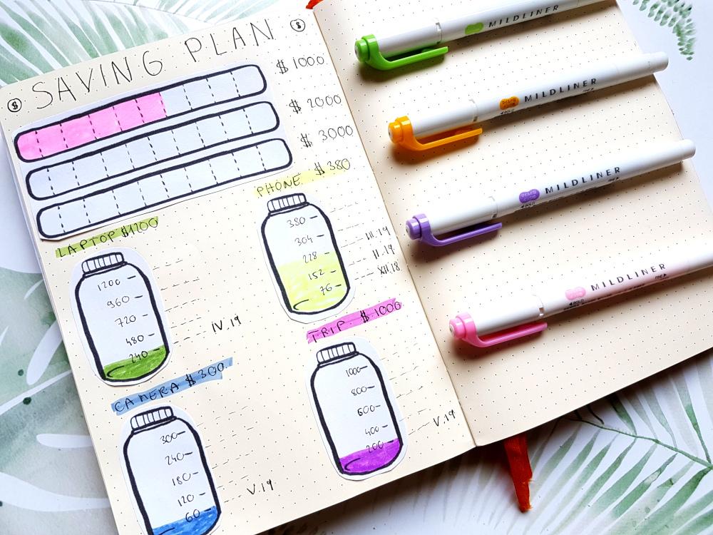 saving plan jars bullet journal