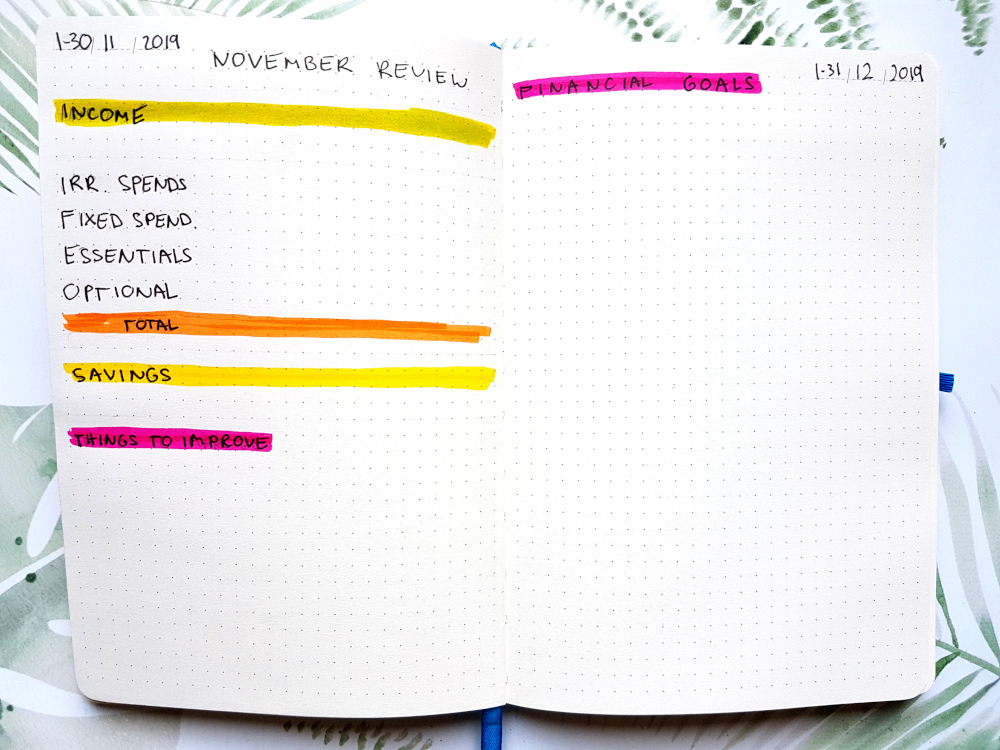 financial monthly reviev bujo