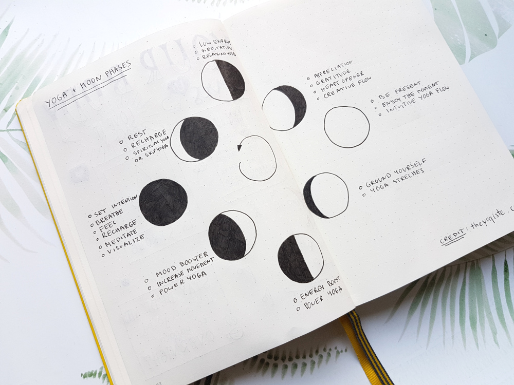 bullet journal yoga moon phases