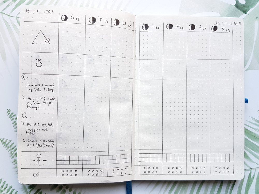 bujo weekly spread fitness log