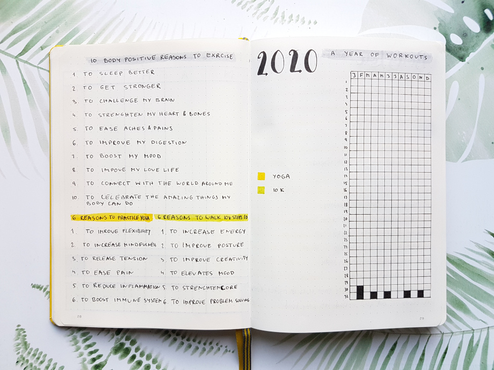 bullet journal workout tracker