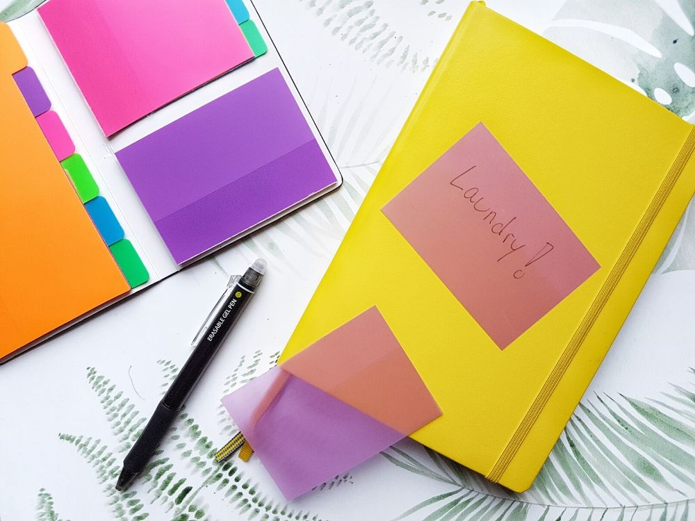 sticky notes bullet journal