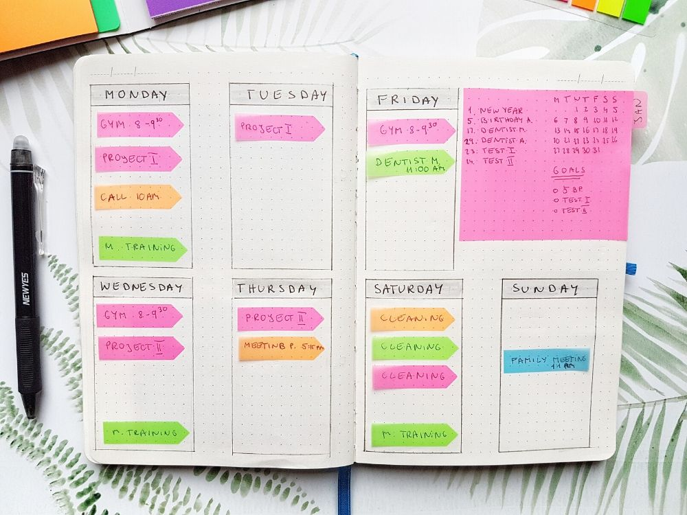 weekly bujo sticky notes planning
