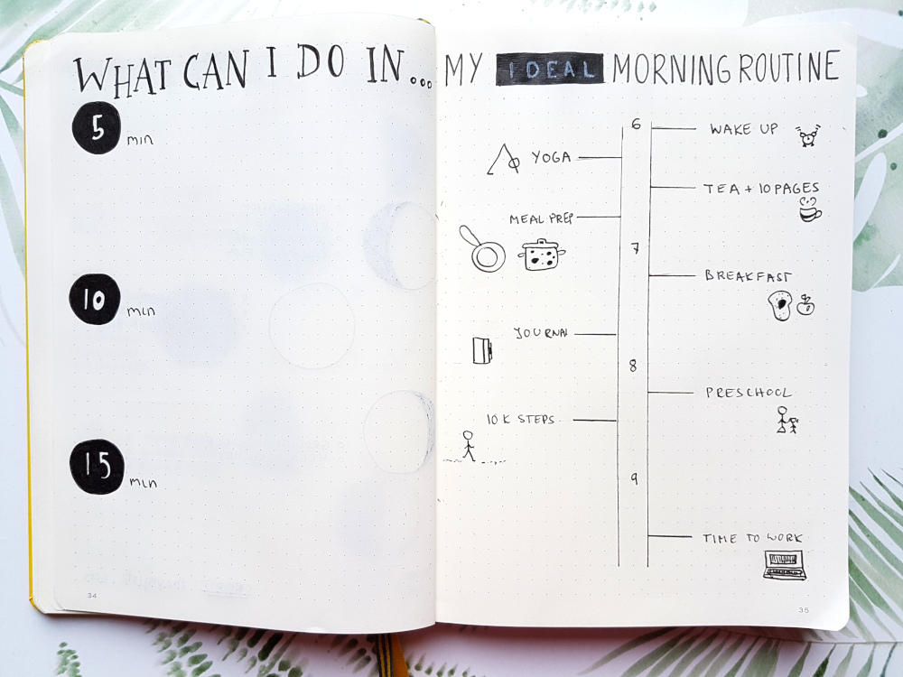 bujo morning routine page