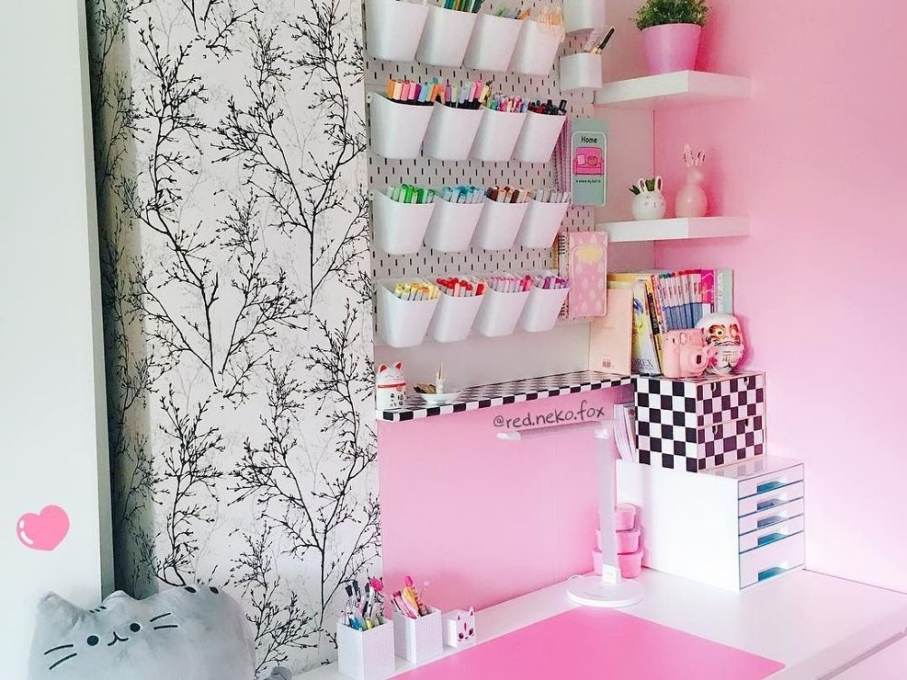 pink craft space pegboard