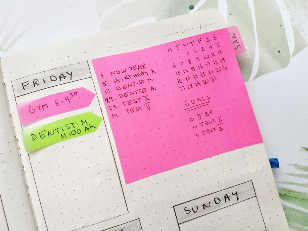 floating calendar bullet journal