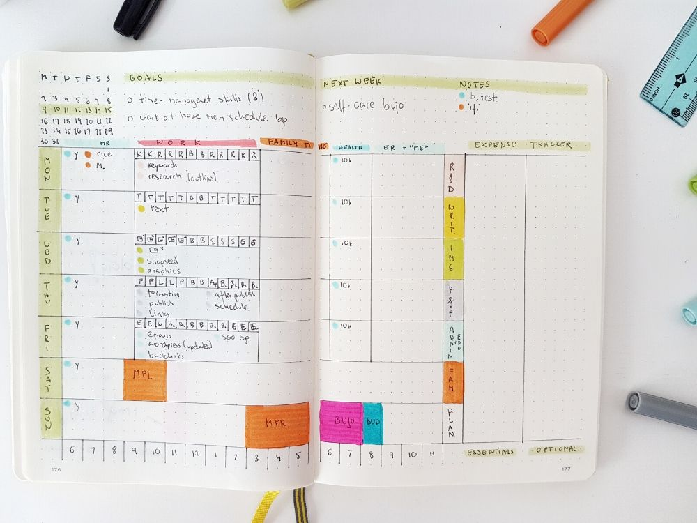 daily mom schedule bullet journal