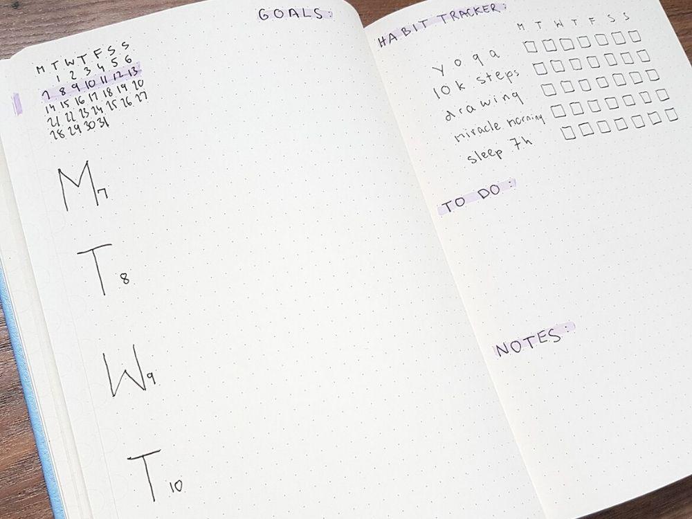 weeklies bullet journal