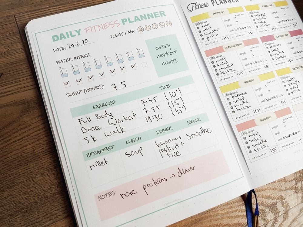 bullet journal fitness printables